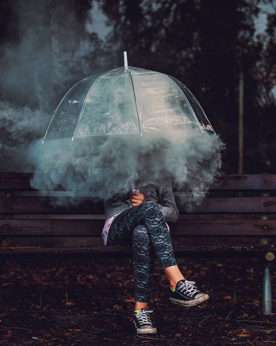 Vaping Under An Umbrella